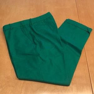 JCrew Cafe Capri Green Wool Slacks w/ Cuff